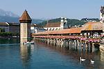 Switzerland, Canton Lucerne: Chapel Bridge, Water Tower, Jesuit Church and Pilatus mountain