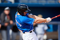 Biloxi Shuckers third baseman George Iskenderian (9) follows through on a swing during a game against the Jackson Generals on April 23, 2017 at MGM Park in Biloxi, Mississippi.  Biloxi defeated Jackson 3-2.  (Mike Janes/Four Seam Images)