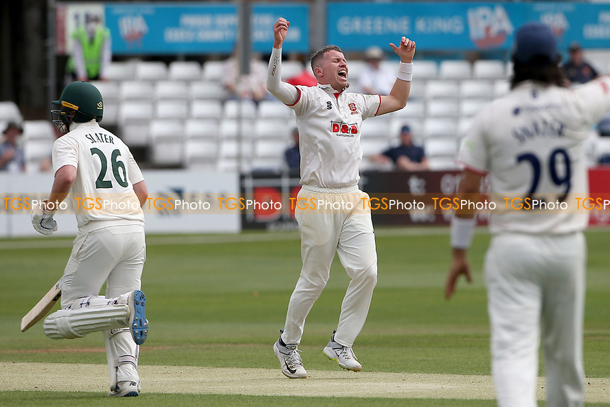 Peter Siddle of Essex celebrates taking the wicket of Ben Duckett during Essex CCC vs Nottinghamshire CCC, LV Insurance County Championship Group 1 Cricket at The Cloudfm County Ground on 3rd June 2021