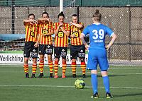 KVM players form the wall in front of Noemi Gorga (39) of KRC Genk during soccer game between Yellow Red KV Mechelen Women and KRC Genk during Belgian Women's National Division 1 match  on day 2 of 2021-2022 season, on Saturday 4th of September  2021 in Mechelen , Belgium . PHOTO SEVIL OKTEM | SPORTPIX
