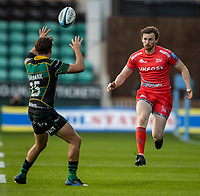 29th September 2020; Franklin Gardens, Northampton, East Midlands, England; Premiership Rugby Union, Northampton Saints versus Sale Sharks; Furbank of Saints blocks the kick by Simon Hammersley of Sale Sharks