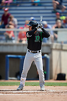 Dayton Dragons third baseman Alejo Lopez (4) at bat during a game against the Beloit Snappers on July 22, 2018 at Pohlman Field in Beloit, Wisconsin.  Dayton defeated Beloit 2-1.  (Mike Janes/Four Seam Images)