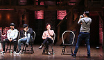 """Terrance Spencer, Anthony Lee Medina, Sasha Hollinger with Lin-Manuel Miranda making a surprise appearance during a Q & A before The Rockefeller Foundation and The Gilder Lehrman Institute of American History sponsored High School student #EduHam matinee performance of """"Hamilton"""" at the Richard Rodgers Theatre on 3/20/2019 in New York City."""