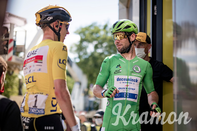Green Jersey / points leader Mark Cavendish (GBR/Deceuninck - Quick Step) & yellow jersey / GC leader Tadej Pogacar (SVN/UAE-Emirates) getting ready for the podium after finishing the stage<br /> <br /> Stage 19 from Mourenx to Libourne (207km)<br /> 108th Tour de France 2021 (2.UWT)<br /> <br /> ©kramon