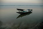 A  boat is anchred at a bank of a river Sunderban, West Bangal, India. Dec 2005. Arindam Mukherjee