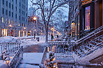 Fresh snow on Newbury Street, Back Bay, Boston, MA, USA