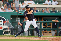 Detroit Tigers center fielder Mikie Mahtook (8) at bat during a Grapefruit League Spring Training game against the New York Yankees on February 27, 2019 at Publix Field at Joker Marchant Stadium in Lakeland, Florida.  Yankees defeated the Tigers 10-4 as the game was called after the sixth inning due to rain.  (Mike Janes/Four Seam Images)