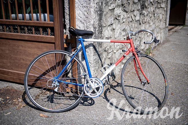 roadside 'french' bike to cheer the riders on<br /> <br /> Stage 17 from Grenoble to Méribel - Col de la Loze (170km)<br /> <br /> 107th Tour de France 2020 (2.UWT)<br /> (the 'postponed edition' held in september)<br /> <br /> ©kramon