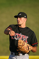 July 30 2008: Mitch Canham of the Lake Elsinore Storm before game against the High Desert Mavericks at Mavericks Stadium in Adelanto,CA.  Photo by Larry Goren/Four Seam Images