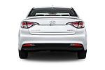 Straight rear view of 2016 Hyundai Sonata Hybrid SE 4 Door Sedan Rear View  stock images