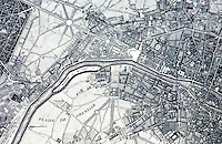 Paris: Map of Paris--engraving. Bacon, DESIGN OF CITIES. Reference only.