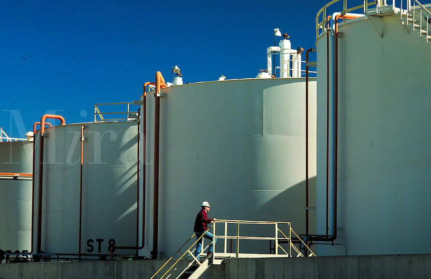 Storage tanks at chemical plant. Wichita Kansas, Vulcan Chemical Plant.