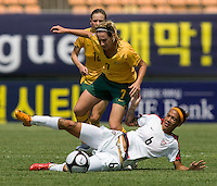 Australia's (7) Heather Garriock tries to climb over USWNT midfielder (6) Natasha Kai during the Peace Queen Cup  in Suwon, South Korea.  The U.S. defeated Australia, 2-1, at the Suwon Sports Complex.