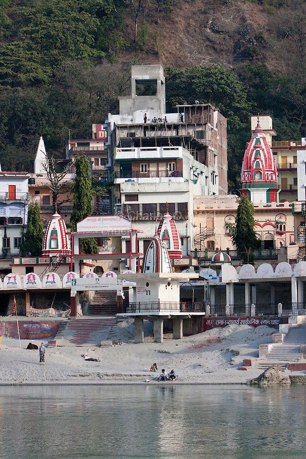 India, Rishikesh.  North Bank of Ganges (Ganga), Showing Temples and Guest Houses.