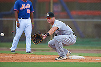 GCL Marlins first baseman Colby Lusignan (45) stretches for a throw during a game against the GCL Mets on August 12, 2016 at St. Lucie Sports Complex in St. Lucie, Florida.  GCL Marlins defeated GCL Mets 8-1.  (Mike Janes/Four Seam Images)