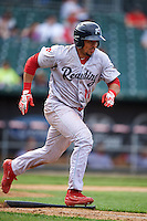 Reading Fightin Phils catcher Jorge Alfaro (11) runs to first during a game against the New Hampshire Fisher Cats on May 30, 2016 at Northeast Delta Dental Stadium in Manchester, New Hampshire.  New Hampshire defeated Reading 9-1.  (Mike Janes/Four Seam Images)