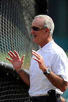 Atlanta Braves General Manager John Hart talks around the batting cage before a Spring Training game against the New York Yankees on Wednesday, March 18, 2015, at Champion Stadium at the ESPN Wide World of Sports Complex in Lake Buena Vista, Florida. The Yankees won, 12-5. (Tom Priddy/Four Seam Images)