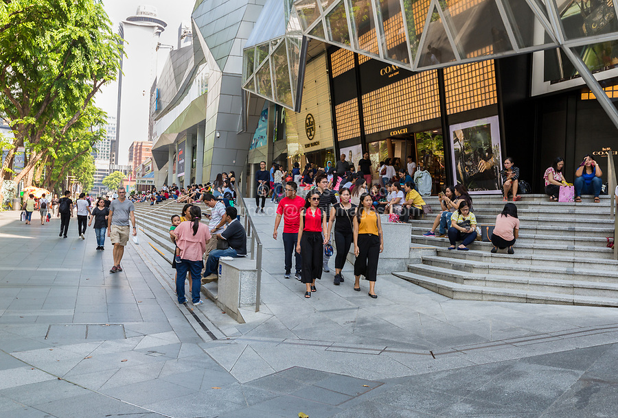 Singapore, Orchard Road Street Scene. Sunday Shoppers outside ION Mall.