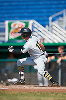 West Virginia Black Bears center fielder Travis Swaggerty (13) follows through on a swing during a game against the Batavia Muckdogs on July 1, 2018 at Dwyer Stadium in Batavia, New York.  Batavia defeated West Virginia 8-4.  (Mike Janes/Four Seam Images)