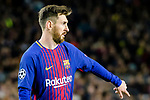 Lionel Andres Messi of FC Barcelona gestures during the UEFA Champions League 2017-18 quarter-finals (1st leg) match between FC Barcelona and AS Roma at Camp Nou on 05 April 2018 in Barcelona, Spain. Photo by Vicens Gimenez / Power Sport Images