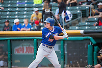Corey Seager (18) of the Oklahoma City Dodgers at bat against the Salt Lake Bees in Pacific Coast League action at Smith's Ballpark on May 25, 2015 in Salt Lake City, Utah.  Seager was the first-round pick (18th overall) in the 2012 Draft for the Los Angeles Dodgers.  (Stephen Smith/Four Seam Images)