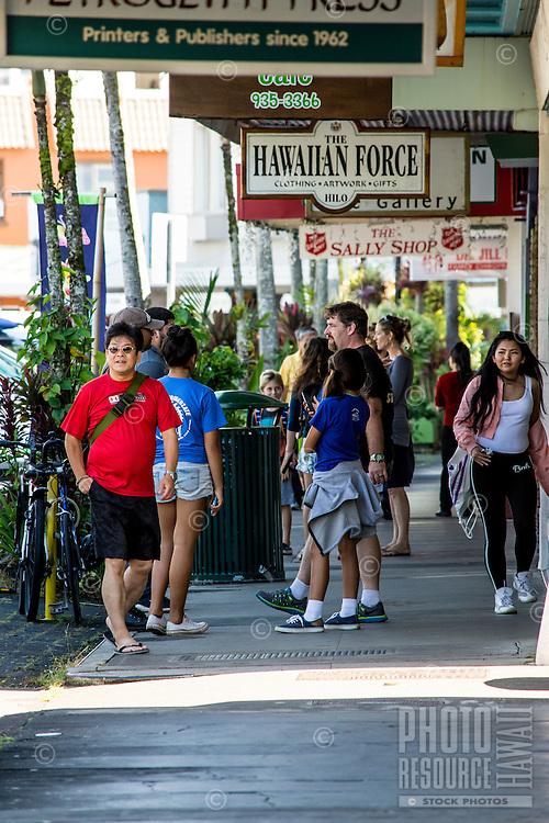 Many enjoy the waterfront shops along Kamehameha Avenue, Hilo, Big Island of Hawai'i.