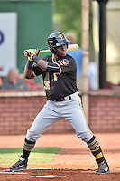 Bristol Pirates left fielder Huascar Fuentes (36) awaits a pitch during a game against the Elizabethton Twins at Joe O'Brien Field on July 30, 2016 in Elizabethton, Tennessee. The Twins defeated the Pirates 6-3. (Tony Farlow/Four Seam Images)