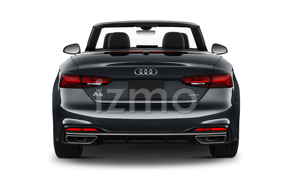 Straight rear view of 2020 Audi A5-Cabriolet Premium 2 Door Convertible Rear View  stock images