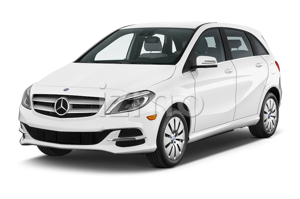 2014 Mercedes Benz B-Class Electric Drive 5 Door MPV Angular Front three quarter view stock photo