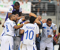 Honduras players celebrating the victory at the end of the game.   Honduras defeated Costa Rica in Penalty Kick 4-2 in the quaterfinals for the 2011 CONCACAF Gold Cup , at the New Meadowlands Stadium, Saturday June 18, 2011.