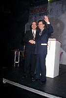 Daniel Johnson avec Robert Bourassa lors de l'hommage qui lui est rendu au congres du PLQ en mars 1994<br /> <br /> Photo:  Agence Quebec Presse