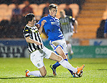St Mirren v St Johnstone...25.03.14    SPFL<br /> David Wotherspoon is tackled by Kenny McLean<br /> Picture by Graeme Hart.<br /> Copyright Perthshire Picture Agency<br /> Tel: 01738 623350  Mobile: 07990 594431