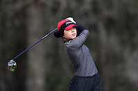 WALLACE, NC - MARCH 09: Kristen Min Ju Kim of Boston University tees off on the 15th hole of the River Course at River Landing Country Club on March 09, 2020 in Wallace, North Carolina.
