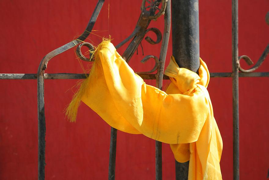Yellow ribbon on a fence Ulaan Baatar Mongolia