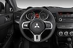 Steering wheel view of a 2008 Mitsubishi Lancer Evolution