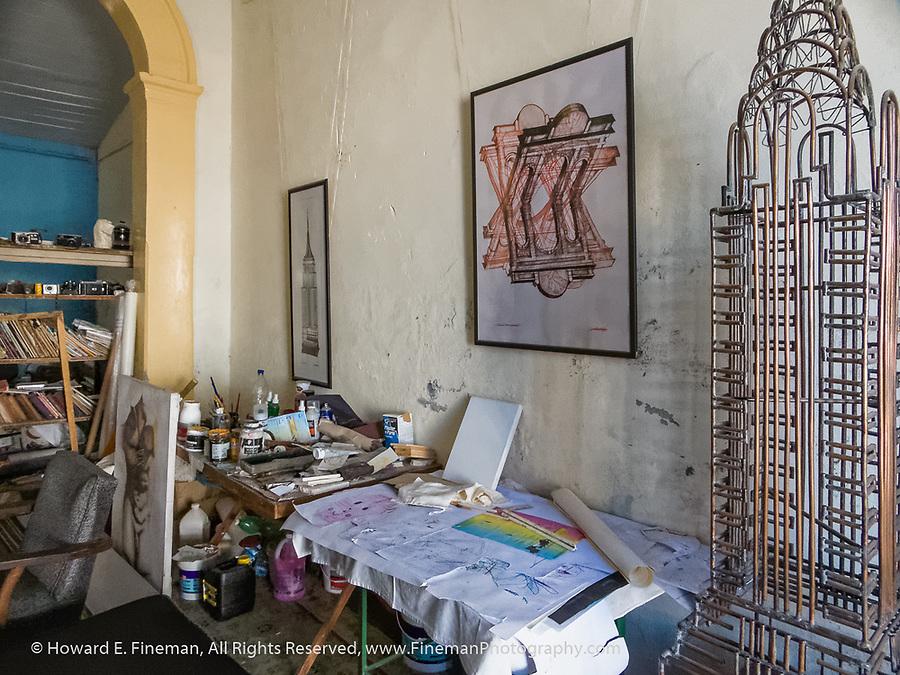 Cienfuegos artist's studio in his home