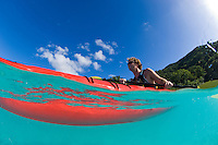 Couple kayaking Trunk Bay, US Virgin Islands
