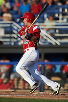 Batavia Muckdogs third baseman Ryan Cranmer (12) at bat during a game against the Williamsport Crosscutters on July 15, 2015 at Dwyer Stadium in Batavia, New York.  Williamsport defeated Batavia 6-5.  (Mike Janes/Four Seam Images)