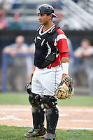Batavia Muckdogs catcher Chris Hoo (5) during the first game of a doubleheader against the Connecticut Tigers on July 20, 2014 at Dwyer Stadium in Batavia, New York.  Connecticut defeated Batavia 5-3.  (Mike Janes/Four Seam Images)