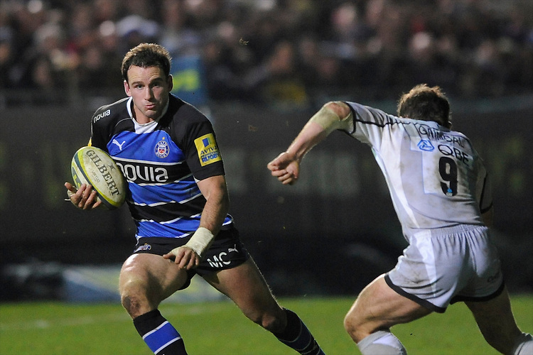 Matt Carraro of Bath Rugby looks to go round James Grindal of Leicester Tigers during the LV= Cup semi final match between Bath Rugby and Leicester Tigers at The Recreation Ground, Bath (Photo by Rob Munro, Fotosports International)