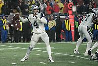 FOXBOROUGH, MA - NOVEMBER 24: Dallas Cowboys Quarterback Dak Prescott #4 prepares to pass deep during a game between Dallas Cowboys and New England Patriots at Gillettes on November 24, 2019 in Foxborough, Massachusetts.