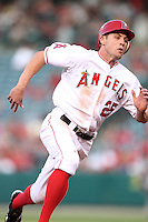 Los Angeles Angels outfielder Peter Bourjos #25 runs the bases against the Baltimore Orioles at Angel Stadium on August 20, 2011 in Anaheim,California. Los Angeles defeated Baltimore 9-8.(Larry Goren/Four Seam Images)