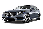 Low aggressive front three quarter view of a 2014 Mercedes E350 4Matic Wagon