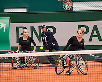 Paris, France, 03 June, 2016, Tennis, Roland Garros, Wheelchair womans doubles: Jiske Griffioen (NED) and her partner Aniek van Koot (NED)<br /> Photo: Henk Koster/tennisimages.com