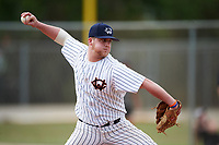 Western Connecticut Colonials relief pitcher Taylor Donofrio (28) delivers a pitch during the second game of a doubleheader against the Edgewood College Eagles on March 13, 2017 at the Lee County Player Development Complex in Fort Myers, Florida.  Edgewood defeated Western Connecticut 3-1.  (Mike Janes/Four Seam Images)