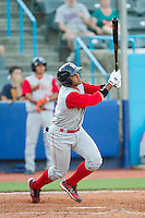 Adrian Abreau (2) of the Brooklyn Cyclones follows through on his swing against the Hudson Valley Renegades at Dutchess Stadium on June 18, 2014 in Wappingers Falls, New York.  The Cyclones defeated the Renegades 4-3 in 10 innings.  (Brian Westerholt/Four Seam Images)