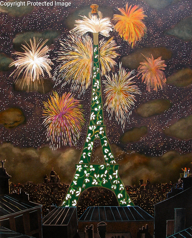 """""""100th Anniversary Eiffel Tower""""<br /> Limited Edition Lithograph on Archival Paper<br /> <br /> SN 29 x 23<br /> $1,200<br /> <br /> SN w/Original Watercolor Remarque<br /> $1,900"""