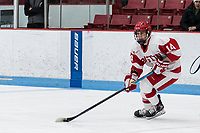 BOSTON, MA - FEBRUARY 16: Kristina Schuler #14 of Boston University looks to pass during a game between University of New Hampshire and Boston University at Walter Brown Arena on February 16, 2020 in Boston, Massachusetts.