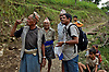 Ram Kumar Bhandari speaking with road workers near his home village in Besishahar Lamjung.  Development projects such as road building often take long periods of time to complete due to bureaucratic squabbling over contracts as well as corruption of funding.