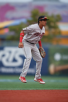 Tri-City ValleyCats shortstop Deury Carrasco (23) during a NY-Penn League game against the Brooklyn Cyclones on August 17, 2019 at MCU Park in Brooklyn, New York.  Brooklyn defeated Tri-City 2-1.  (Mike Janes/Four Seam Images)